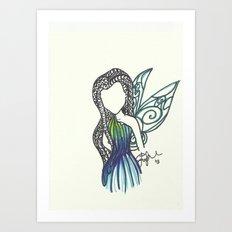 Silvermist Zen Tangle Art Print