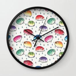Round Rain Frogs Wall Clock