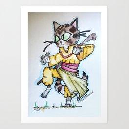 Monk Kitty Art Print