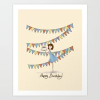 happy birthday Art Prints featuring Happy Birthday by Naomi VanDoren