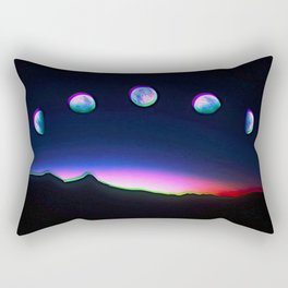 Trippy Moon Phases in the Night Sky Rectangular Pillow