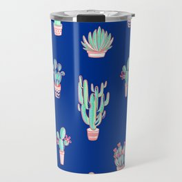Little cactus pattern - Princess Blue Travel Mug