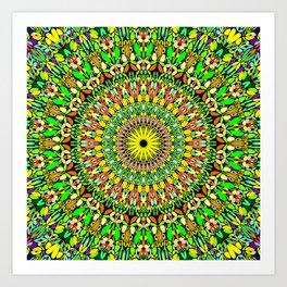Floral Sun Garden Mandala Art Print