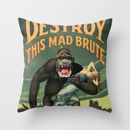 1917 WWI U.S. Army - Destroy this mad brute Enlist - Recruitment Poster by Harry R. Hopps, Throw Pillow