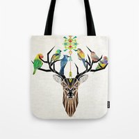 yetiland Tote Bags featuring deer birds by Manoou