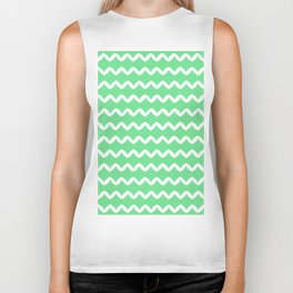 Girly Modern Chevron Abstract Mint Green Pattern Biker Tank