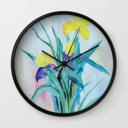 yellow iris on a blue background Wall Clock