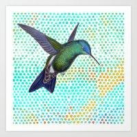 Hummingbird with Polkadots II Art Print