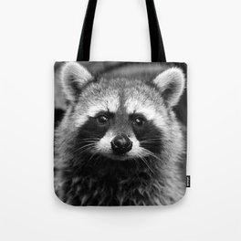 Racoon B & W Tote Bag