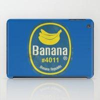 sticker iPad Cases featuring Banana Sticker On Blue by Karolis Butenas