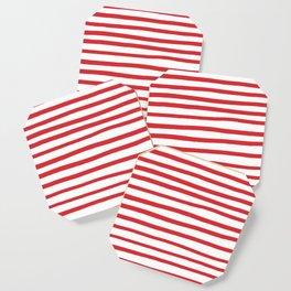 Red hand drawn stripes Coaster