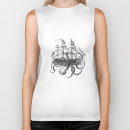 Octopus Attacks Ship on White Background Biker Tank