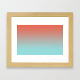 Pantone Living Coral & Limpet Shell Gradient Ombre Blend, Soft Horizontal Line Framed Art Print