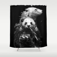 bears Shower Curtains featuring bears by kian02