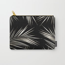 White Gold Palm Leaves on Black Carry-All Pouch
