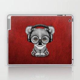 Cute Baby Koala Bear Dj Wearing Headphones on Red Laptop & iPad Skin