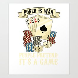 Poker Card Player Texas Holdem Poker Face Art Print