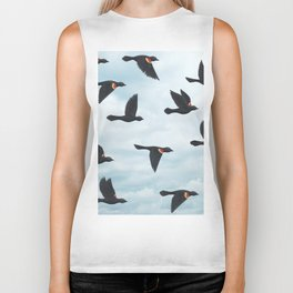 red-winged blackbirds and blue sky Biker Tank
