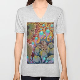 The Egg Maiden, Bearded Dragon Lizard Art Unisex V-Neck