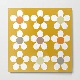 Spring Daisies on Yellow Metal Print