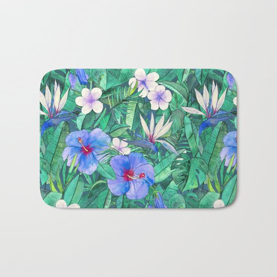 White Bird of Paradise & Blue Hibiscus Tropical Garden Bath Mat