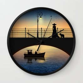 Romantic meeting by the river in the sunset Wall Clock