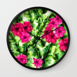 green banana palm leaves and pink flowers Wall Clock