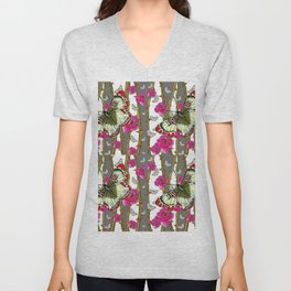 RED-YELLOW  ORIENTAL STYLE BUTTERFLIES & PINK ROSES GREY PATTERN DESIGN FROM SOCIETY6   BY SHARLESAR Unisex V-Neck