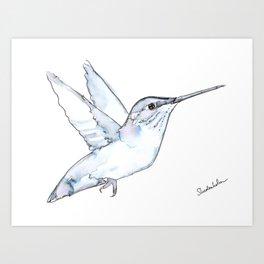 Hummingbird Watercolor, Flapping Wings, Muted Tones Art Print