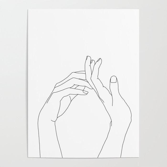 Hands line drawing illustration - Abi Poster