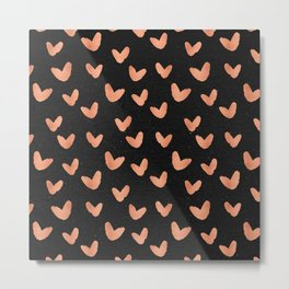 Rose Gold Hearts on Black Metal Print
