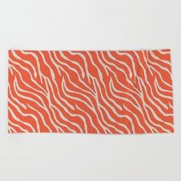 Orange Zebra Beach Towel