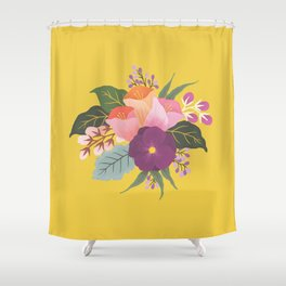 May Florals on Yellow Shower Curtain