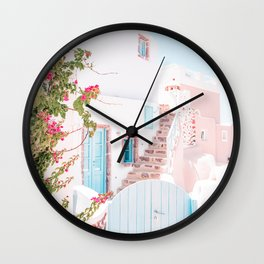 Santorini Greece Mamma Mia Pink House Travel Photography in hd. Wall Clock