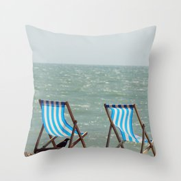 Vintage beach deckchairs Throw Pillow