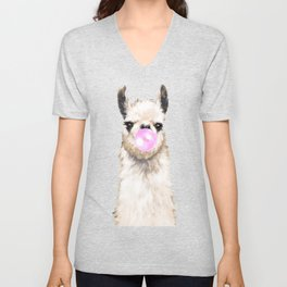 Bubble Gum Popped on Llama (1 in series of 3) Unisex V-Neck