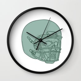 Football Quarterback Skull Drawing Wall Clock
