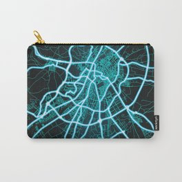 Valladolid, Spain, Blue, White, Neon, Glow, City, Map Carry-All Pouch