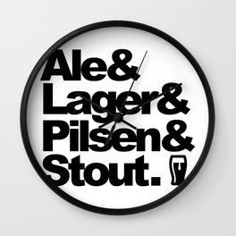 Ale and Lager and Pilsen and Stout Wall Clock