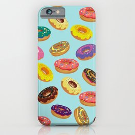 Donuts Pattern Kitchen Home Decor Sky Blue Art Print Donuts Poster Decoration Cartoon Graphic Design iPhone Case