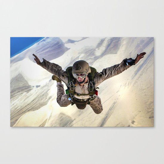 Parachuting falling Canvas Print