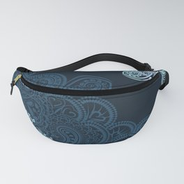 Indian boho pattern with ornament in blue Fanny Pack