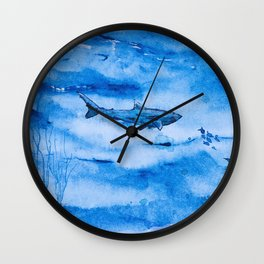 Great white in blue Wall Clock