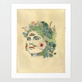 Green Woman: Bjork Art Print