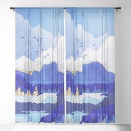 Blue Lake Sheer Curtain