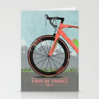 tour de france Stationery Cards featuring Tour De France Bike by Wyatt Design