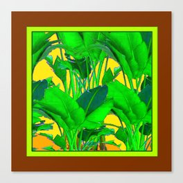 COFFEE BROWN TROPICAL GREEN & GOLD FOLIAGE ART Canvas Print