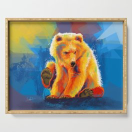 Play with a Bear - Animal digital painting, colorful illustration Serving Tray