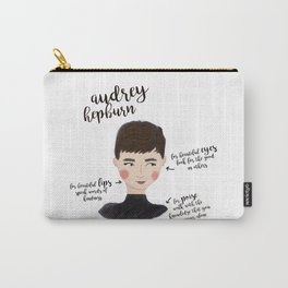 Audrey Hepburn Illustration Art Print Watercolor Fashion Modern Quote Drawing Wall Decor Room Office Carry-All Pouch