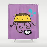 musa Shower Curtains featuring Lusa Musa© of MILK FACTORY ® by Mimi Guarnero